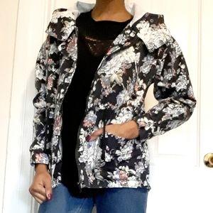MARGOT | Navy floral denim zip up jacket